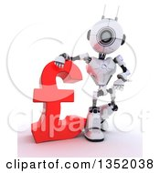 Clipart Of A 3d Futuristic Robot Resting An Arm On And Presenting A Red Lira Pound Currency Symbol On A Shaded White Background Royalty Free Illustration