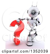 Clipart Of A 3d Futuristic Robot Resting An Arm On And Pointing To A Red Question Mark On A Shaded White Background Royalty Free Illustration