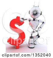 Clipart Of A 3d Futuristic Robot Resting An Arm On A Red Dollar Currency Symbol On A Shaded White Background Royalty Free Illustration