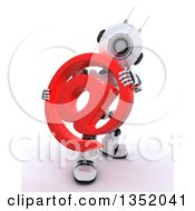 3d Futuristic Robot Holding A Red Email Arobase At Symbol On A Shaded White Background