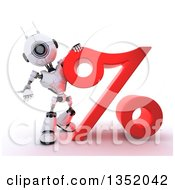 Clipart Of A 3d Futuristic Robot Resting An Arm On And Presenting A Percent Symbol On A Shaded White Background Royalty Free Illustration
