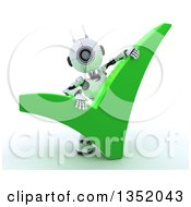 Clipart Of A 3d Futuristic Robot Behind A Giant Green Check Mark On A Shaded White Background Royalty Free Illustration
