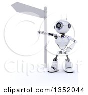 Clipart Of A 3d Futuristic Robot Pointing Under A Directional Street Sign On A Shaded White Background Royalty Free Illustration by KJ Pargeter