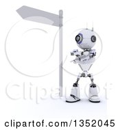Clipart Of A 3d Futuristic Robot Pointing Different Ways Under A Directional Street Sign On A Shaded White Background Royalty Free Illustration by KJ Pargeter