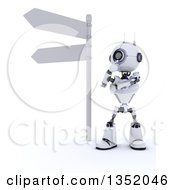 Clipart Of A 3d Futuristic Robot Thinking By A Directional Street Sign On A Shaded White Background Royalty Free Illustration by KJ Pargeter
