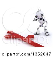 Clipart Of A 3d Futuristic Robot Looking Down At Arrows Going In Different Directions On A Shaded White Background Royalty Free Illustration