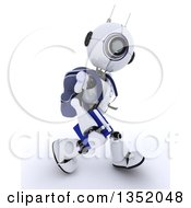 Clipart Of A 3d Futuristic Robot School Student Walking On A Shaded White Background Royalty Free Illustration