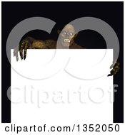 Clipart Of A 3d Demon Or Zombie Over A Blank Sign Royalty Free Illustration