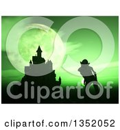 Clipart Of A 3d Silhouetted Demon By A Castle Against A Green Night Sky And Full Moon Royalty Free Illustration