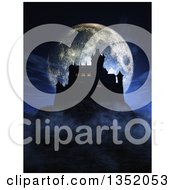 3d Silhouetted Dark Halloween Castle On A Hill With Lights In Some Windows Against A Full Moon