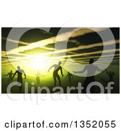 Clipart Of A Background Of 3d Silhouetted Zombies Wandering Under A Spooky Green Sky Royalty Free Illustration