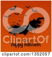 Clipart Of A Grungy Spider Web Vampire Bat Over Happy Halloween Text On Orange Royalty Free Vector Illustration by KJ Pargeter