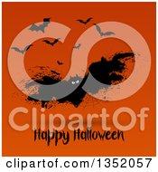 Grungy Spider Web Vampire Bat Over Happy Halloween Text On Orange