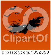 Clipart Of A Grungy Halloween Spider Web Vampire Bat Over Orange Royalty Free Vector Illustration