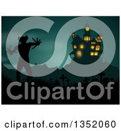 Clipart Of A Silhouetted Haunted Halloween Castle Over A Demon In A Cemetery Royalty Free Vector Illustration