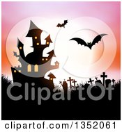 Silhouetted Haunted Halloween Castle Flying Bats And Cemetery Against A Full Moon With A Pink And Orange Sky