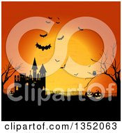 Halloween Background Of Jackolnatern Pumpkins An Owl Flying Bats Bare Tree And Castle Against An Orange Full Moon