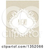 Clipart Of A White Floral Diamond Frame With Menu Text Over A Canvas Texture Royalty Free Vector Illustration by KJ Pargeter