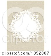 Clipart Of A White Floral Diamond Frame Over A Canvas Texture Royalty Free Vector Illustration