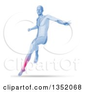 Clipart Of A 3d Blue Anatomical Man Jumping And Landing With Visible Glowing Calf On Shaded White Royalty Free Illustration