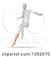 Clipart Of A 3d Anatomical Man Jumping And Landing With Visible Glowing Calf Pain And Lower Skeleton On Shaded White Royalty Free Illustration