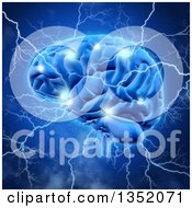 Clipart Of A 3d Human Brain Sparking And Being Struck With Lightning Bolts Over Blue Royalty Free Illustration