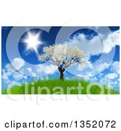 Clipart Of A 3d Apple Tree With Spring Time Blossoms On A Hill Against A Blue Sky With Clouds And Sunshine Royalty Free Illustration by KJ Pargeter