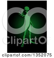 Clipart Of A 3d Green Alien Being Reaching Out Royalty Free Illustration by KJ Pargeter