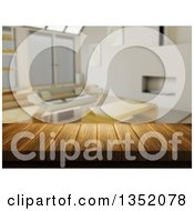 Clipart Of A 3d Close Up Of A Wooden Table And A Blurred Modern Living Room Royalty Free Illustration by KJ Pargeter