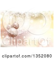 Clipart Of A Christmas Background With Snowflakes Bokeh Flares And 3d Suspended Bauble Ornaments Royalty Free Vector Illustration