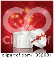 Clipart Of A 3d White Heart Shaped Valentines Day Christmas Or Anniversary Gift Box Over Gold Sparkles And Snowflakes On Red Royalty Free Vector Illustration
