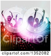 Clipart Of A Silhouetted Crowd Of Dancers Over A Wavy Light Burst Stars And Flares Royalty Free Vector Illustration by KJ Pargeter
