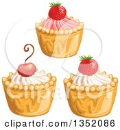 Clipart Of Cupcakes Or Tarts With Frosting Strawberries And A Cherry Royalty Free Vector Illustration by merlinul