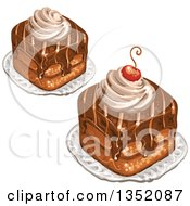 Clipart Of Square Chocolate Cakes Topped With A Cherry And Cream Royalty Free Vector Illustration
