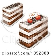Clipart Of Rectangular Layered Cakes Topped With Chocolate Sprinkles And Cherries Royalty Free Vector Illustration
