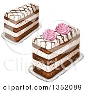 Clipart Of Rectangular Layered Cakes Topped With Chocolate Lattice And Pink Cream Royalty Free Vector Illustration