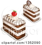 Clipart Of Rectangular Layered Cakes Topped With Chocolate Lattice A Strawberry And Cream Royalty Free Vector Illustration