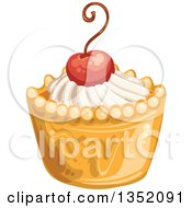 Clipart Of A Cupcake Or Tart With White Frosting And A Cherry Royalty Free Vector Illustration by merlinul