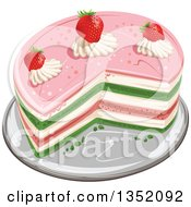 Clipart Of A Colorful Round Layered Cake Topped With Strawberries And Cream Royalty Free Vector Illustration by merlinul
