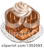 Clipart Of A Square Chocolate Cake Topped With Cream Royalty Free Vector Illustration by merlinul