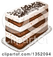 Clipart Of A Rectangular Layered Cake Topped With Chocolate Sprinkles Royalty Free Vector Illustration by merlinul