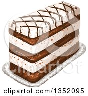 Clipart Of A Rectangular Layered Cake Topped With Chocolate Lattice Royalty Free Vector Illustration by merlinul