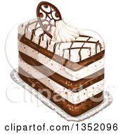 Clipart Of A Rectangular Layered Cake Topped With Chocolate Lattice A Fancy Chocolate Oval And Cream Royalty Free Vector Illustration by merlinul