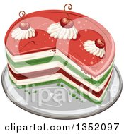 Clipart Of A Colorful Round Layered Cake Topped With Cherries And Cream Royalty Free Vector Illustration by merlinul