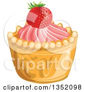 Clipart Of A Cupcake Or Tart With Pink Frosting And A Strawberry Royalty Free Vector Illustration by merlinul