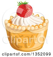 Clipart Of A Cupcake Or Tart With White Frosting And A Strawberry Royalty Free Vector Illustration by merlinul