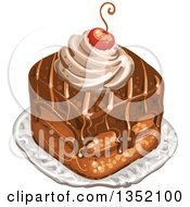 Clipart Of A Square Chocolate Cake Topped With A Cherry And Cream Royalty Free Vector Illustration