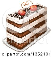 Clipart Of A Rectangular Layered Cake Topped With Chocolate Sprinkles And Cherries Royalty Free Vector Illustration by merlinul