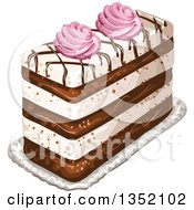 Clipart Of A Rectangular Layered Cake Topped With Chocolate Lattice And Pink Cream Royalty Free Vector Illustration by merlinul
