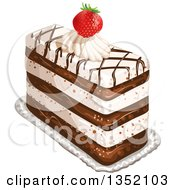 Clipart Of A Rectangular Layered Cake Topped With Chocolate Lattice A Strawberry And Cream Royalty Free Vector Illustration by merlinul
